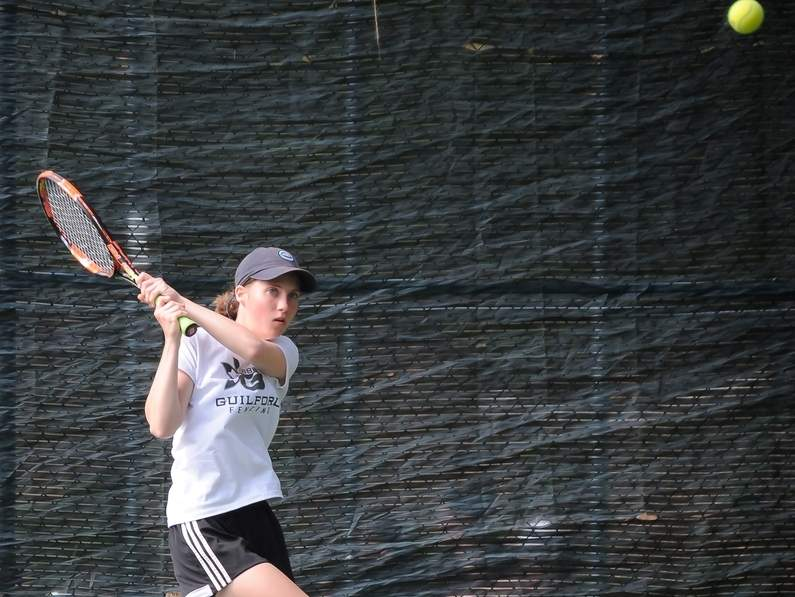 Faren Roth posted a straight-sets victory to help the Guilford girls' tennis team defeat Lauralton Hall 6-1 to start their spring. Photo by Kelley Fryer/The Courier