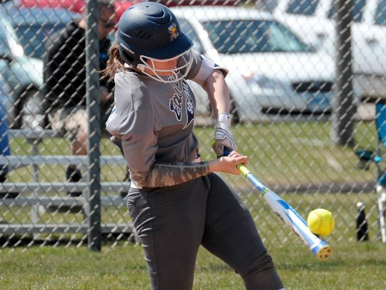 Julia SanGiovanni earned her 100th hit with the East Haven softball team when the Yellowjackets defeated Foran 10-5 last week. Two days later, teammates Jessica Stettinger got her 100th hit in a 18-10 victory versus Stamford. Photo by Kelley Fryer/The Courier