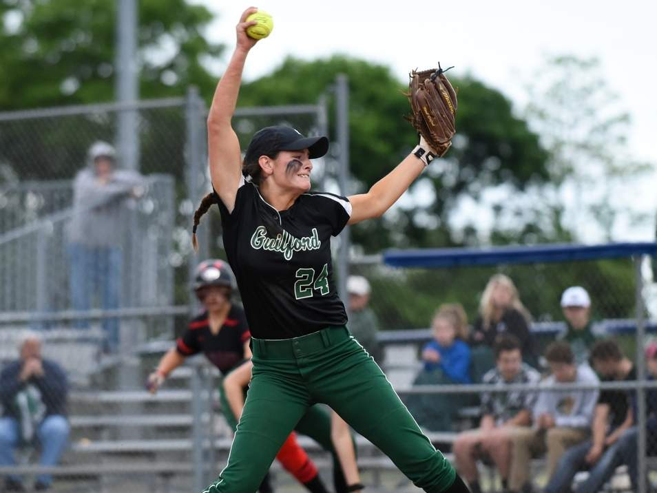 Senior captain pitcher Amanda King is one of several veteran players who is looking to carry the Guilford softball team deep into the playoffs this season. Photo by Kelley Fryer/The Courier