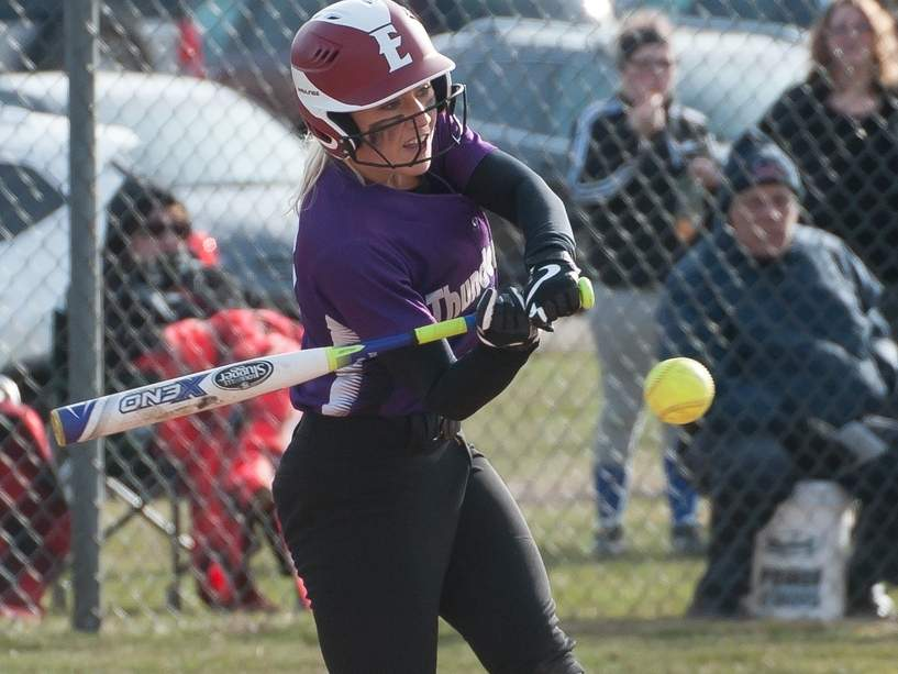 Olivia Hemstock and the Thunderbirds' softball team have everything working thus far this season and own an early record of 6-0 as a result. Photo by Kelley Fryer/The Sound
