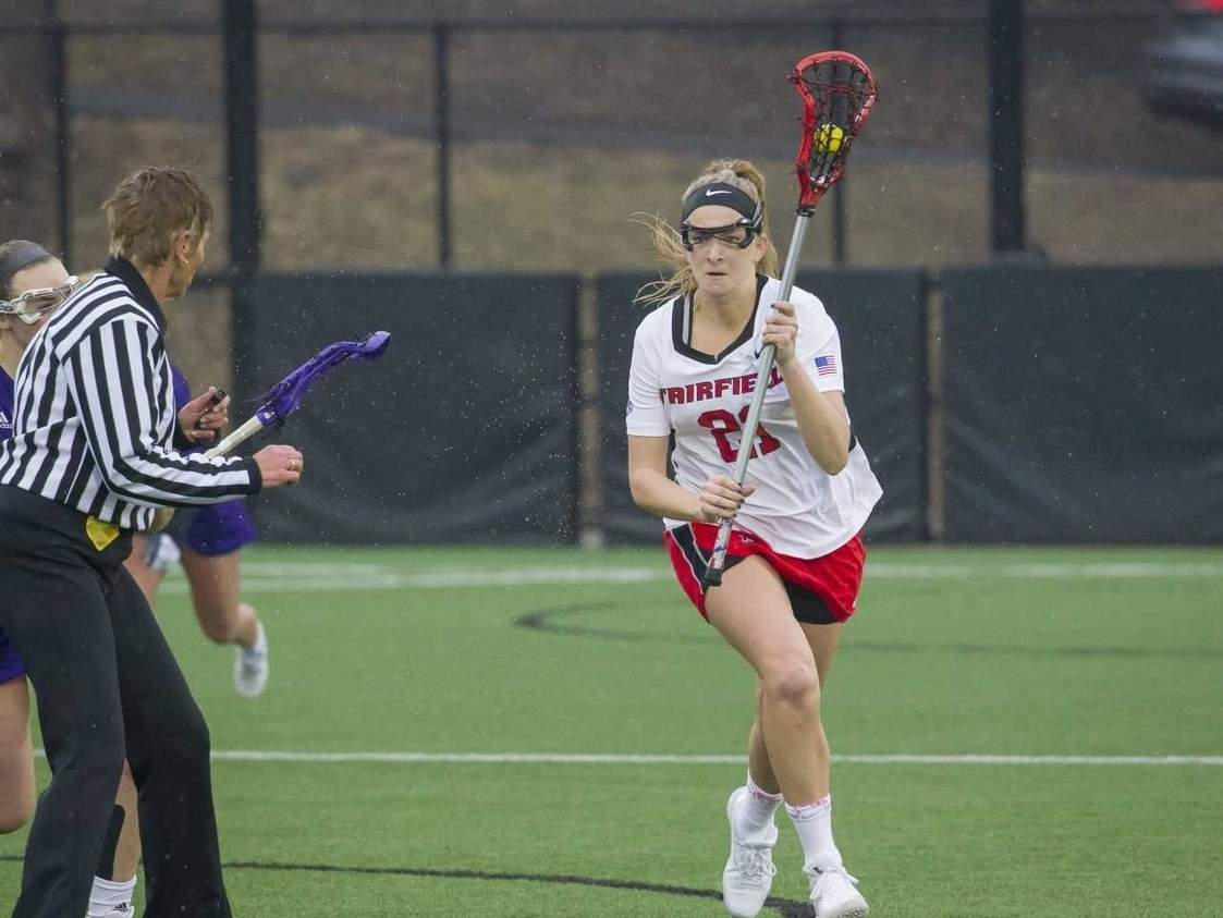 Erin Mammele, a former two-sport standout at Hand, recently set the new career record in draw controls for the Fairfield University women's lacrosse team with 176. Photo courtesy of John Martinelli