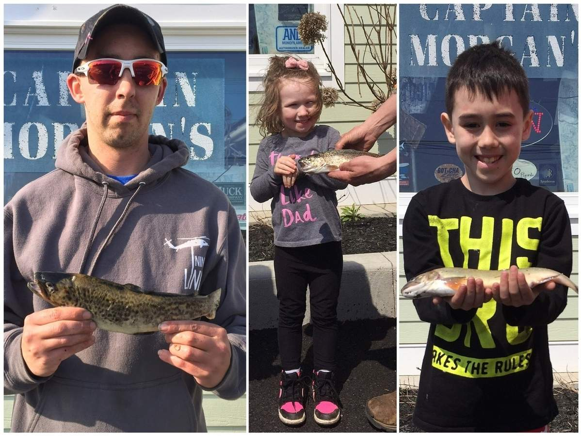 Sgt. David Krug (left) of Preston and Guilford residents Lana Carter (middle) and Joshua Carter (right) are this year's opening day trout contest winners. Photo illustration courtesy of Captain Morgan