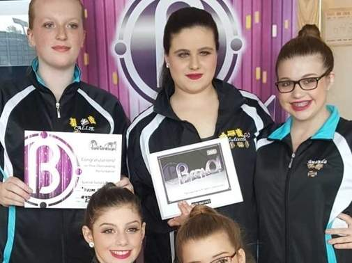 The Astra Studio of Dance and Performing Arts Senior team recently earned a handful of awards at the BravO! Talent Competition in North Branford. Pictured are (front) Emma Brockett (Essex) and Jillian Pernal (Old Saybrook); (back) Callie Andrews (Clinton), Juliette Linares (Chester), and Amanda Pernal (Old Saybrook). Photo courtesy of Nanci-Lyn Lockwood