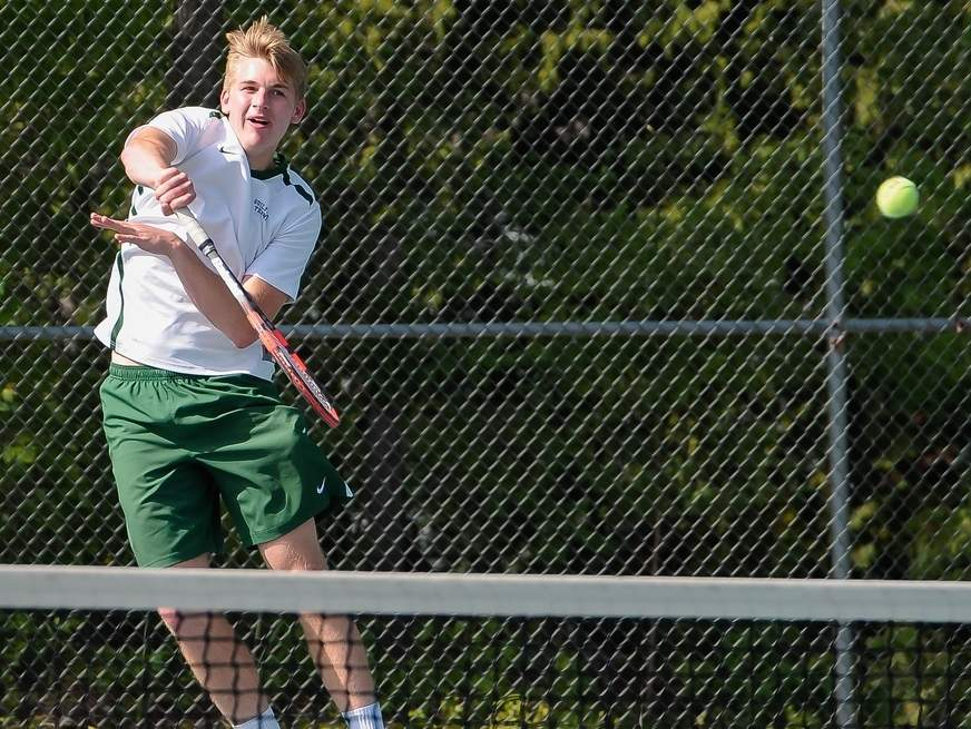 Senior captain No. 1 doubles player Sam Inchalik and the Guilford boys' tennis team have great depth on their roster and have jetted out to a 7-0 start in 2018. Photo by Kelley Fryer/The Courier
