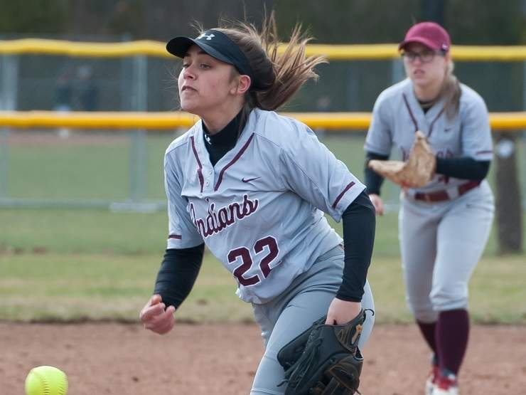 Junior Lauren Card earned three wins on the mound to lead the North Haven softball team to victories against Sheehan, West Haven, and Lauralton Hall last week. Card has been the Indians' primary pitcher since her freshman year at the high school. Photo by Kelley Fryer/The Courier