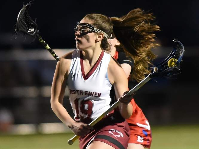 Senior Kylie Brandt scored seven goals and had seven assists on the week to lead the North Haven girls' lacrosse team to a pair of victories last week. The Indians defeated West Haven (15-4) and Norwalk (15-11) to run their record to 5-4 on the season. Photo by Kelley Fryer/The Courier