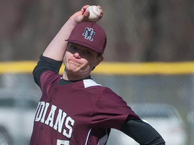 Senior Chris Ciarleglio struck out eight over six innings to get the win when the North Haven baseball team posted a 7-2 victory versus Sheehan on May 2. Later in the week, the Indians defeated Notre Dame-West Haven by a 6-5 score to improve to 11-3 on the year. Photo by Kelley Fryer/The Courier