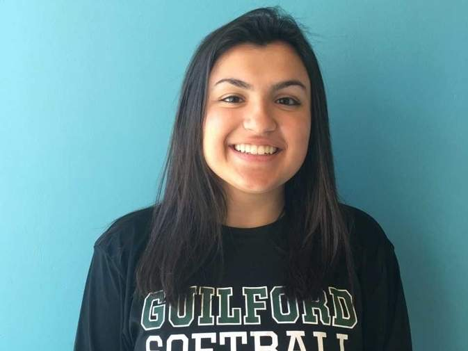 Senior captain second baseman Sara Barreira is hitting .270 with 12 runs scored for the Guilford softball team, which is in the midst of another great year as it charges toward the playoffs. Photo courtesy of Sara Barreira