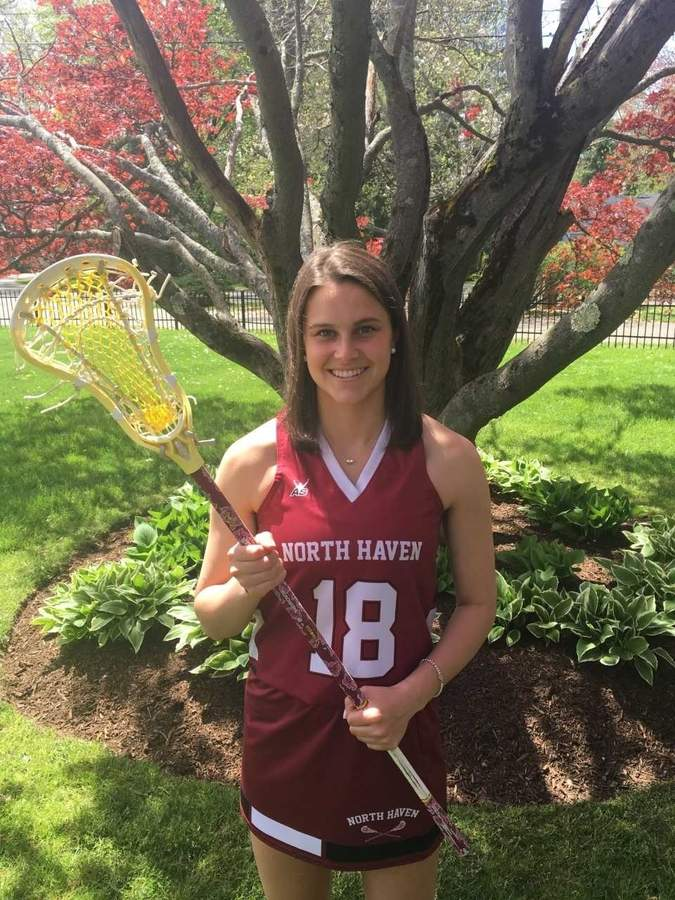 Courtney Babbidge is leading the North Haven girls' lacrosse squad as both a senior captain and two-way contributor at the attack wing position this spring. Photo courtesy of Courtney Babbidge