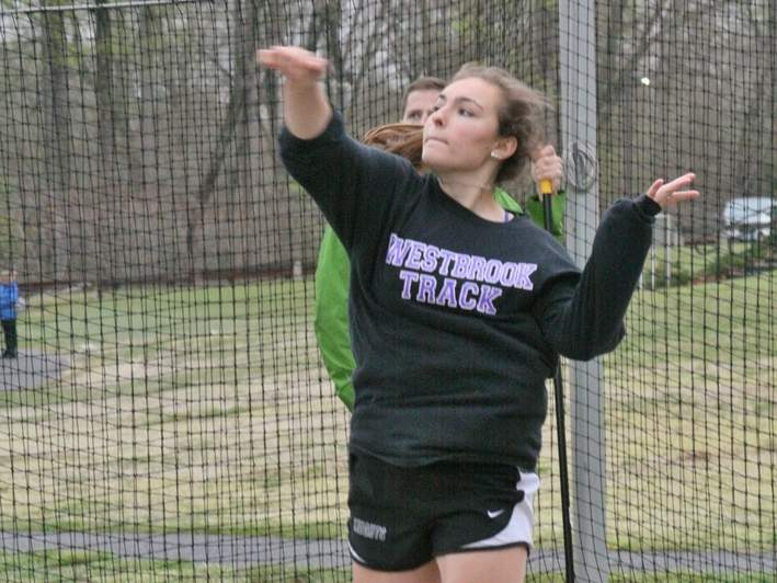 Senior Danyelle Engels claimed first place in the discus (96-10) and the shot put (33-6) at the Runnin' Rams Invitational on May 12, helping the Westbrook girls' indoor track team finish in fifth place as a squad. Photo courtesy of Teg Cosgriff