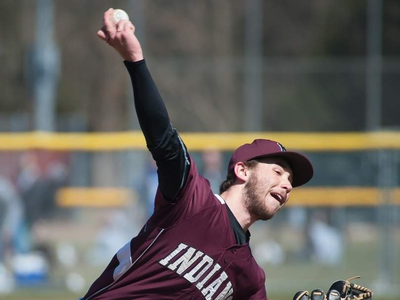 Zach Pincince pitched the North Haven baseball team to a 9-1 victory versus Law last week, putting Bob DeMayo just one win away from his 900th as Indians' head coach. Photo by Kelley Fryer/The Courier