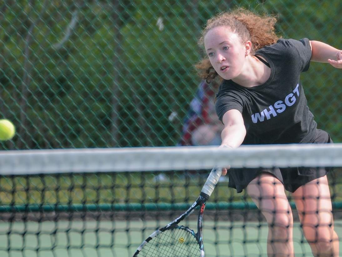 No. 1 singles player Sara Farnoli helped the Westbrook girls' tennis team clinch the Shoreline Conference title last week behind a pair of wins over North Branford and Valley Regional, combined with a Cromwell loss to Old Saybrook. Photo by Kelley Fryer/Harbor News