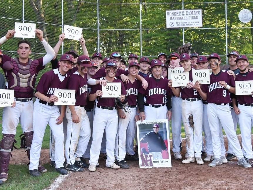 Bob DeMayo earned win No. 900 as the head coach of North Haven baseball when the Indians edged Amity 7-6 in the SCC Tournament quarterfinals on May 23. North Haven, which went on to beat North Branford 7-0 in its regular-season finale, is 17-4 and will face Fairfield Prep in the SCC semis on Thursday, May 24. Photo by Kelley Fryer/The Courier