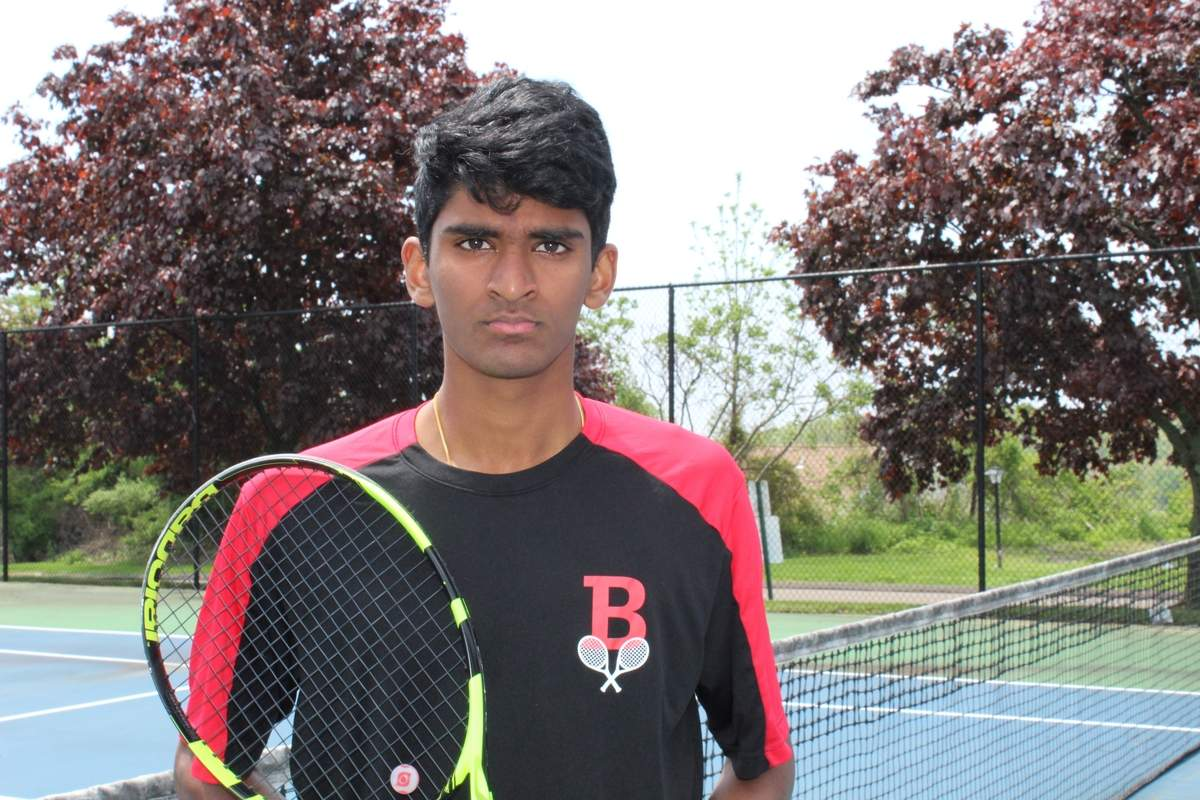 Junior Praneeth Ganedi has a record of 12-5 playing the No. 2 singles position for the Branford boys' tennis team this spring. Photo courtesy of Praneeth Ganedi