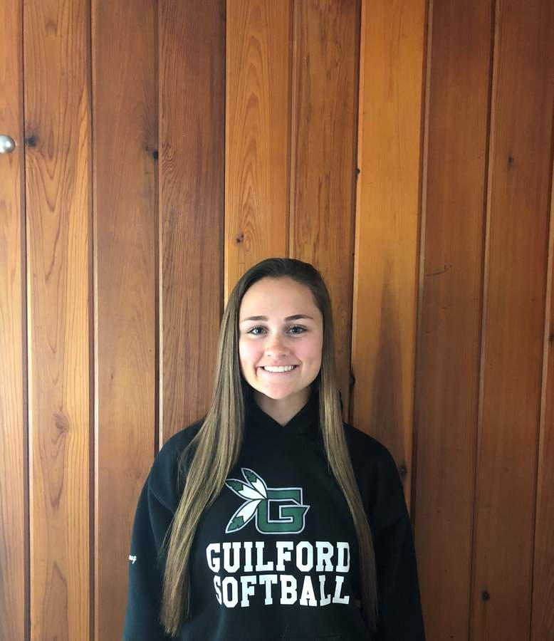 Charlotte Young is leader in the outfield for the Guilford softball team. A senior center fielder, Charlotte is also providing the Indians with some timely hitting this spring. Photo courtesy of Charlotte Young