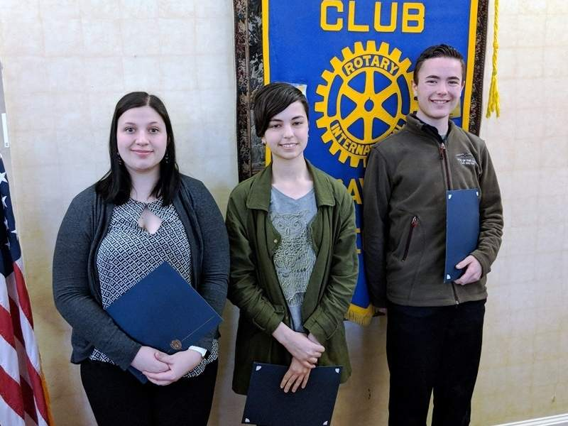 Old Saybrook Rotary Club April Students of the Month (from left) Courtney Parrish of Westbrook High School, Samantha Hart of Old Saybrook High School, and Alexander Williams of Lyme-Old Lyme High School were recognized for excellence in fine arts education.   Photo courtesy of Trent Gerbers