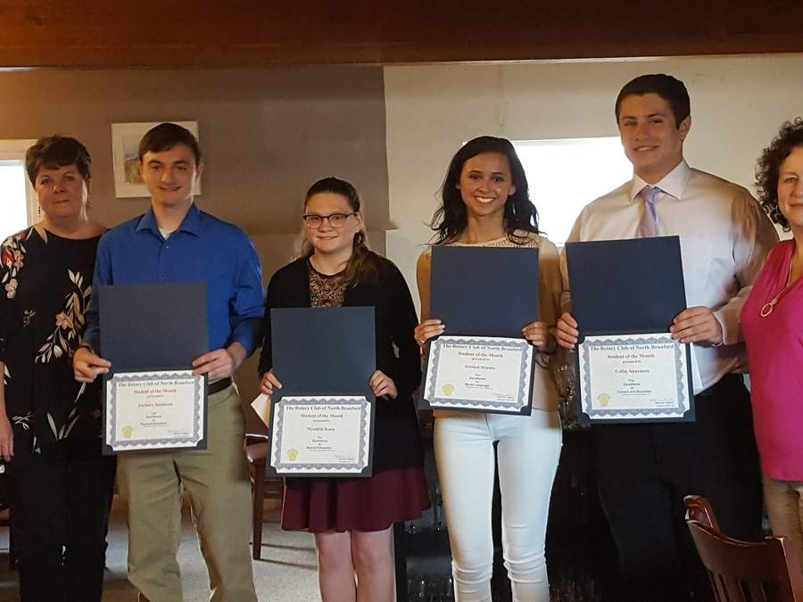 North Branford Rotary Club President Maureen Hughes (left) and member Diane Popolizio (right) honor students of the month Zach Jameison, Meridith Korn, Jocelyn Streeto, and Colby Anastasio. Photo courtesy of Lauren Lombardi
