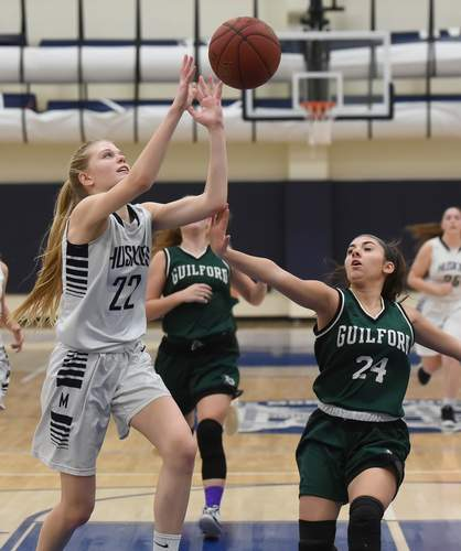 Leah McComiskey and the Morgan girls' basketball team lost their Shoreline Conference Tournament semifinal game against East Hampton by the score of 30-23 on Feb. 19. Photo by Kelley Fryer/Harbor News