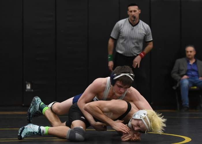 Sophomore Louis Bradley won two decisions while representing the Morgan wrestling team in the 132-pound weight class at the State Open Championship last weekend. Photo by Kelley Fryer/Harbor News