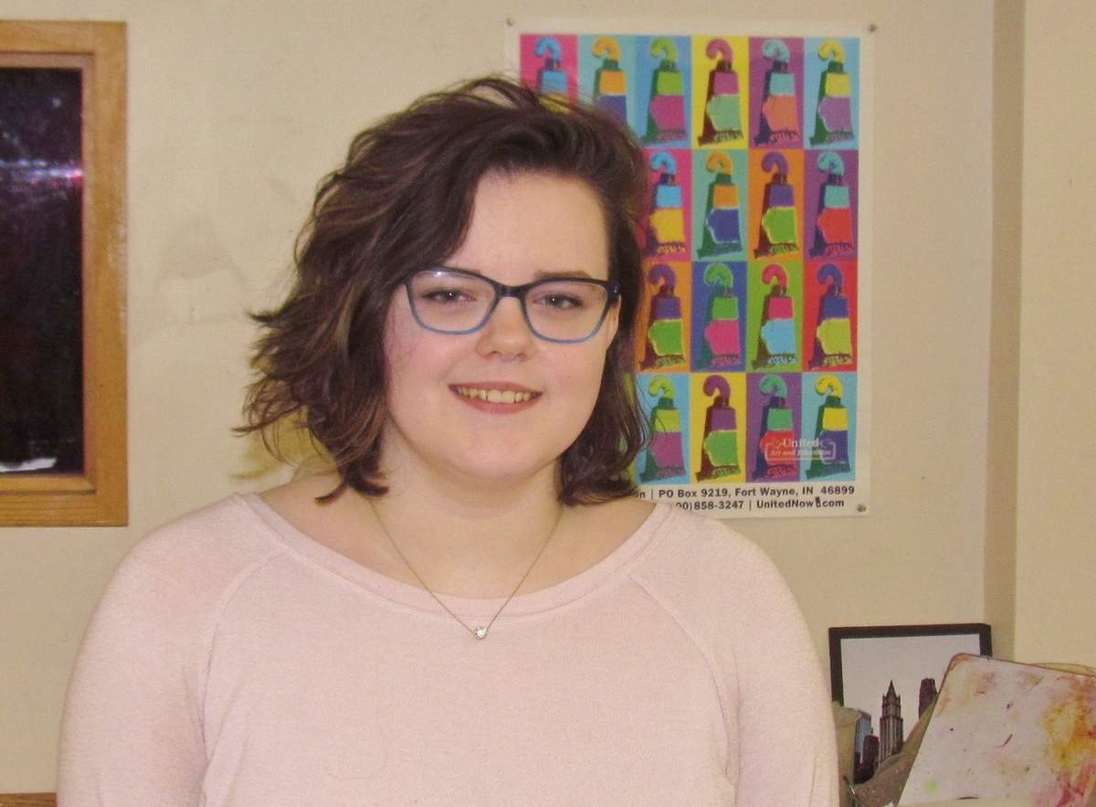 Branford High School senior Sophia Irzyk is relatively new to creating watercolor paintings and low-relief sculpture, but her work in both mediums has just won notable awards in the 2019 Connecticut Scholastic Art Exhibition (including a Gold Key, which carries an $80,000 scholarship to Hartford Art School) and Shoreline Art Alliance's Future Choices High School Art Competition. Photo by Pam Johnson/The Sound