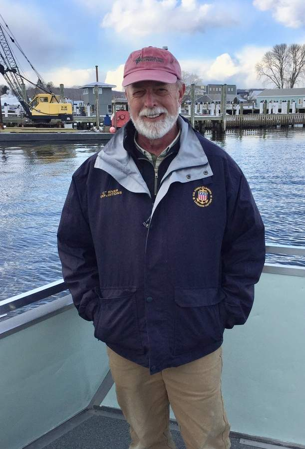 This time of year, you'll usually find RiverQuest Captain Mark Yuknat out on the water, tracking down bald eagles and other fauna of the lower Connecticut River.  Photo by Rita Christopher/The Courier