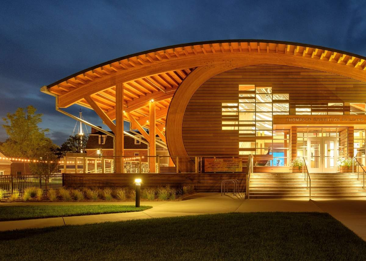 The Thompson Exhibition Building at Mystic Seaport Museum has garnered its designer, Centerbrook Architects, a fourth national award. Photo courtesy of Centerbrook Architects
