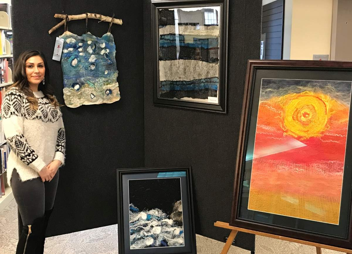In 2013, North Branford resident Rebekah DeVivo was in the running to be a contestant on TV's American Idol when a rare spinal tumor detoured that dream. Her long period of recovery led to discovering a passion for another form of artistic expression, felting. DeVivo's unique take on the ancient textile art is on display at Northford's Edward Smith Library during the month of March. Photo by Pam Johnson/The Sound