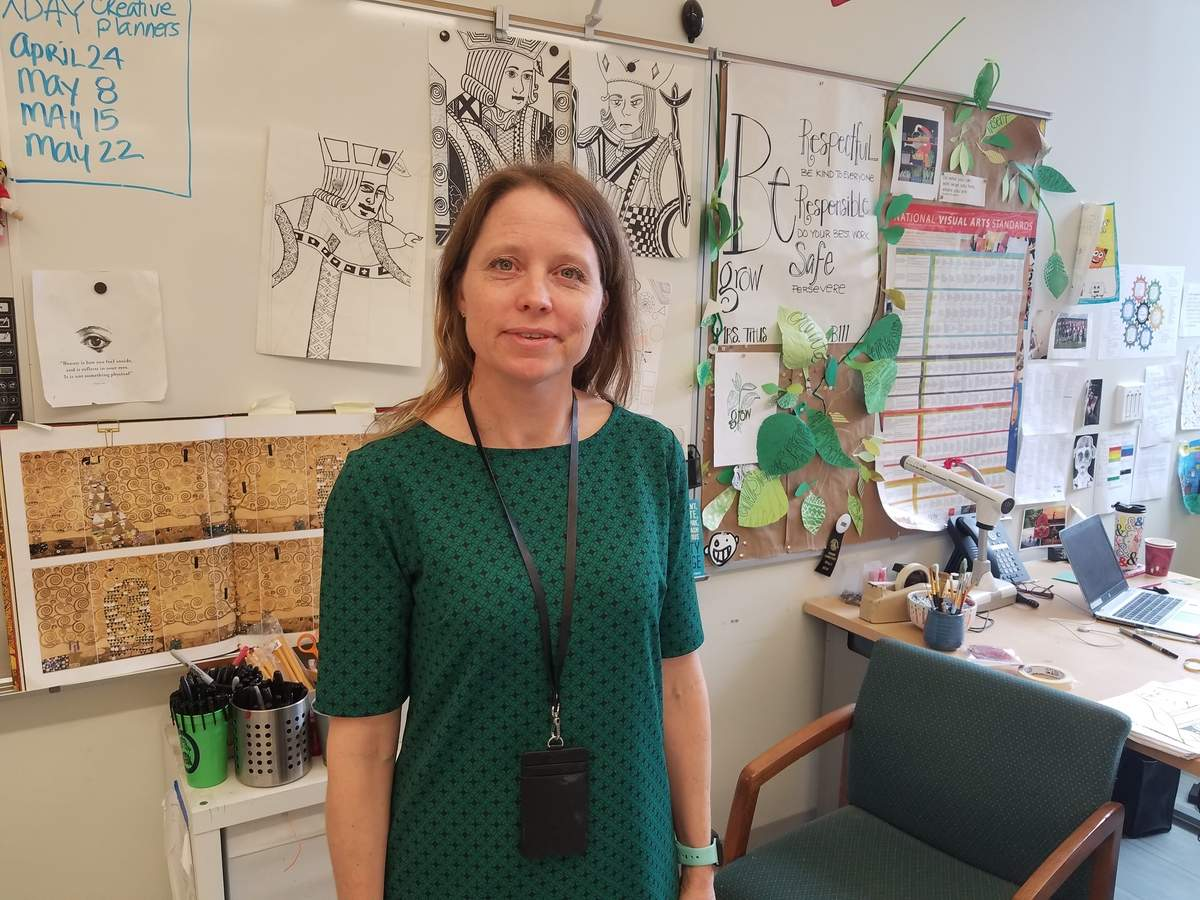 Betsy Titus says that art, running, and music all contribute to her teaching style at North Haven Middle School where she has recently started working with kids in the Therapeutic Learning Services program. Photo by Nathan Hughart/The Courier