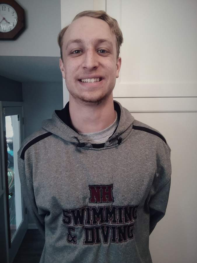 JP Stoeffler was a senior captain on the North Haven boys' swimming and diving team, capping his career with an SCC title in the 50 free and New Haven Register All-Area honors. Photo courtesy of JP Stoeffler