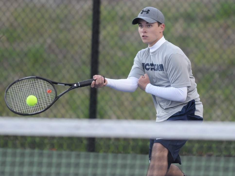 Senior Sean Arribas Cockley and the Morgan boys' tennis team earned a pair of wins in their three contests last week. Arribas Cockley went undefeated at the No. 4 singles position on the week. Photo by Kelley Fryer/Harbor News