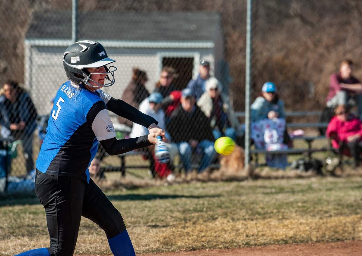 Junior Rachel Baldi and the Old Saybrook softball team notched their first two victories of the season by posting wins over Westbrook (21-2) and Portland (16-4) last week. File photo by Susan Lambert/Harbor News