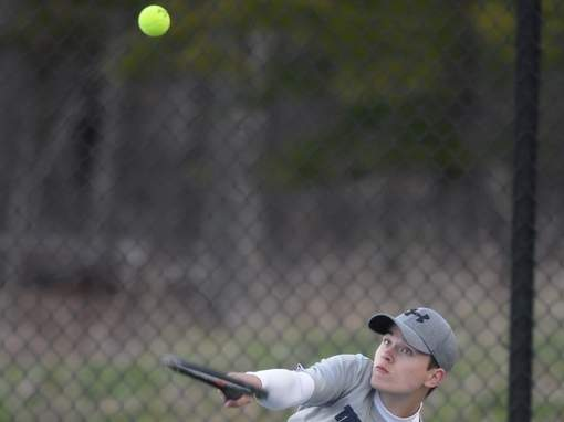 Senior Sean Arribas Cockley and the Mogran boys' tennis team came away with a pair of victories last week. Arribas Cockley won both of his matches at the No. 5 singles position to help the Huskies prevail in each of the two contests. File photo by Kelley Fryer/Harbor News