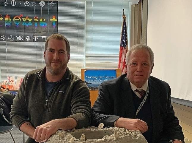 Pete Solomon (left) and Tim Visel (right) of the Sound School spearheaded the innovative and successful Long Island Sound artificial reef ball project. Photo illustration courtesy of Captain Morgan