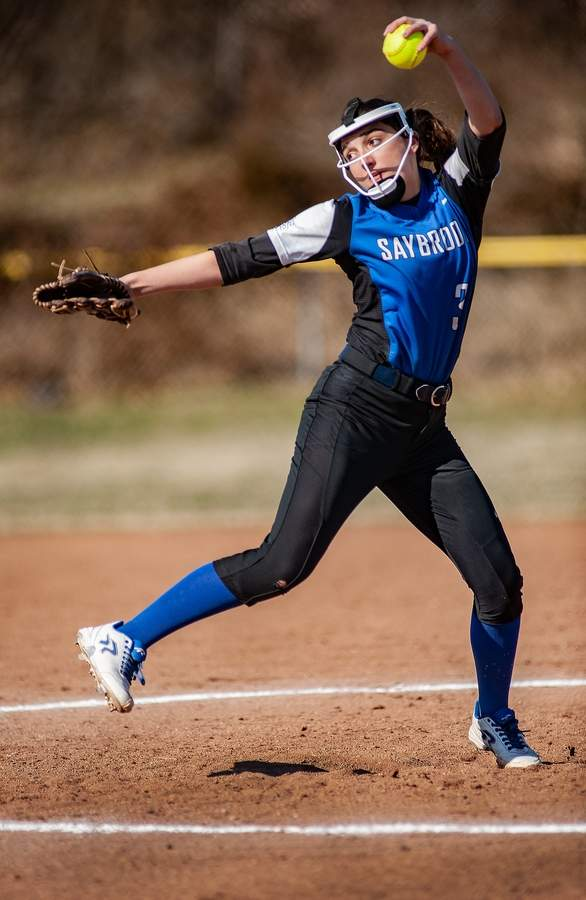 Sophomore pitcher Christina Lombardi and the Old Saybrook softball squad earned a win and took a loss in last week's matchups. Lombardi notched the victory on the mound in the Rams' 14-2 victory against Morgan on April 25.  File photo by Susan Lambert/Harbor News