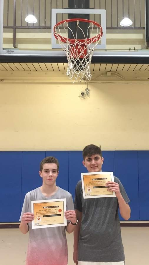 Bradley Kulmann and Ajdin Cecunjanin led Lets Go FLUTES to the title in this year's Old Saybrook Parks and Rec Basketball Tournament. Photo courtesy of Old Saybrook Parks and Recreation
