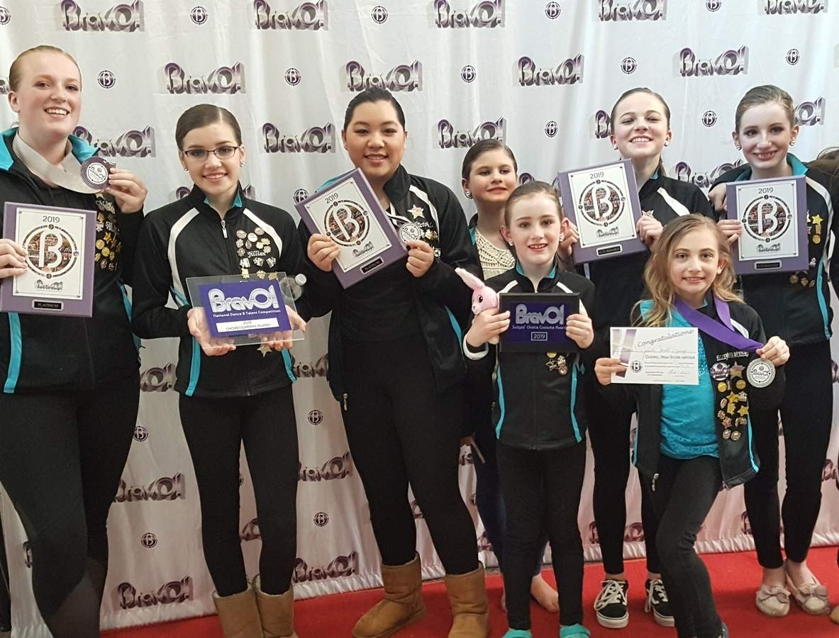 The Astra Studio of Dance and Performing Arts collected its fair share of awards for both company routines and solos at the Bravo Talent Competition in Tolland. Pictured are (back) Callie Andrews (Clinton), Jillian Pernal (Old Saybrook), Victoria Le (Clinton), Emma Elgart (Old Saybrook), Emma Golembeski (Gales Ferry), and Vivi Heiser (Chester); (front) Sadie Heiser (Chester) and Elleyana Barbieri (Old Saybrook). Photo courtesy of Astra Studio of Dance and Performing Arts