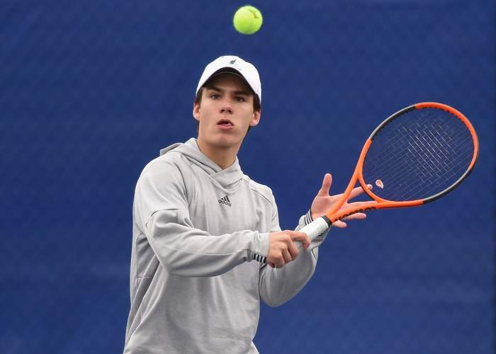 Senior Garrett Johnson and the Morgan boys' tennis team split a pair of recent matches to move to 8-4 on the year. Johnson netted a 6-1, 6-4 win at the No. 2 singles spot in the Huskies' 5-2 victory over Old Lyme on May 1. File photo by Kelley Fryer/Harbor News