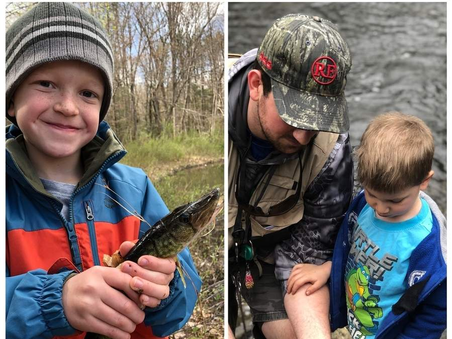 Holden Ford (left) catches a Killingworth pickerel, while Liam Morrison and his dad Bryan, of Madison, look over their Hammonasset rainbow trout. Photo illustration courtesy of Captain Morgan