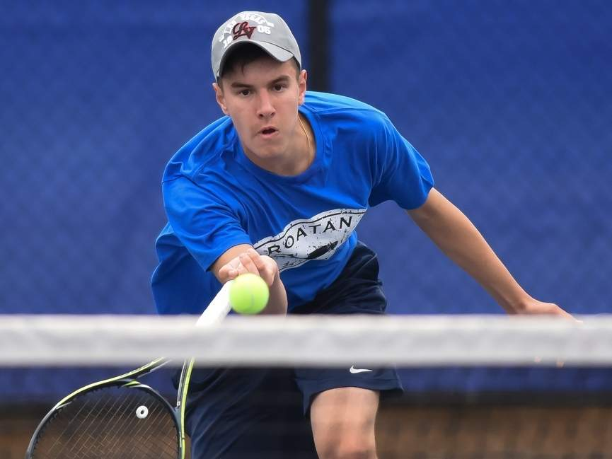 Senior captain Chris Nuzzo and the Morgan boys' tennis team are headed back to the Class S State Championship after notching three recent wins. Nuzzo has a record of 9-5 at the No. 1 singles position for the Huskies. File photo by Kelley Fryer/Harbor News