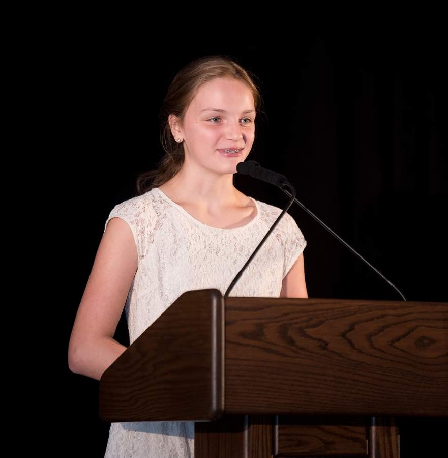 Shown here speaking as 2018-'19 co-chair of the United Way of Greater Waterbury annual campaign, 13-year-old Guilford resident Ella Copeland has demonstrated, in several meaningful ways, that young people can make an impact, and get involved, to help their community and others. Photo courtesy of Ella Copeland