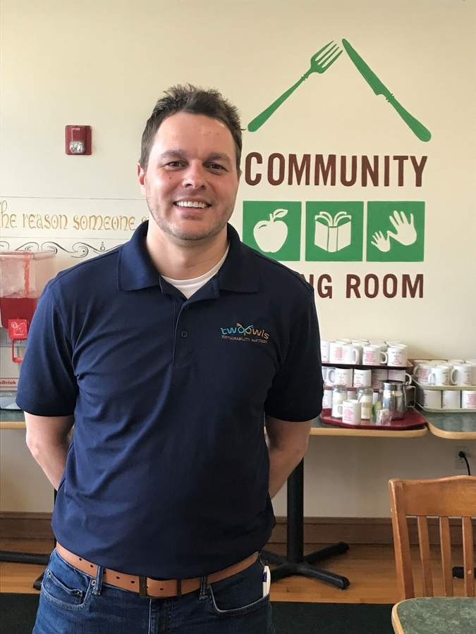 Branford's David Mayer, co-founder of Two Owls Sustainability Partners, is bringing his waste-diversion know-how to his home town, starting with a recent pro bono audit and analysis that will assist the Community Dining Room. Photo by Pam Johnson/The Sound
