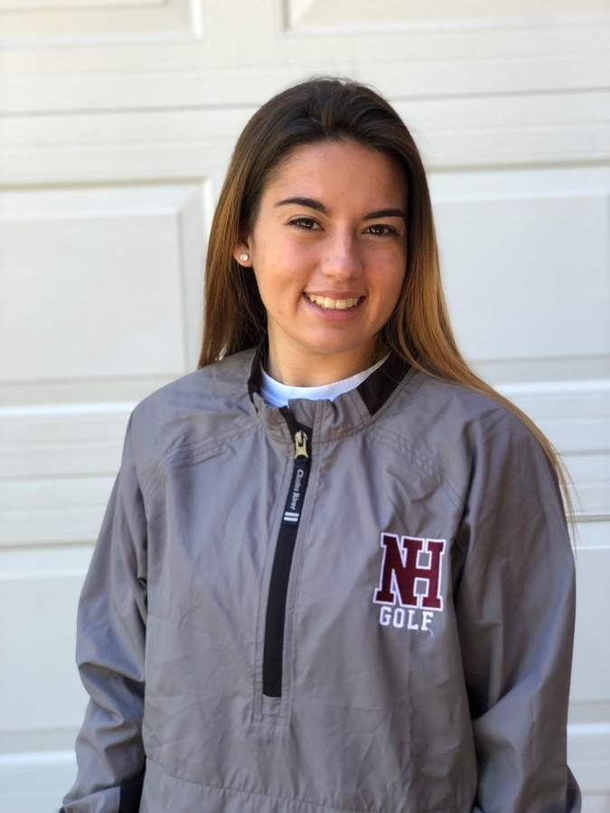 Junior Julia Raposo is regularly turning in scorecards in the low 40s as the No. 2 golfer for the Indians this year. Photo courtesy of Julia Raposo