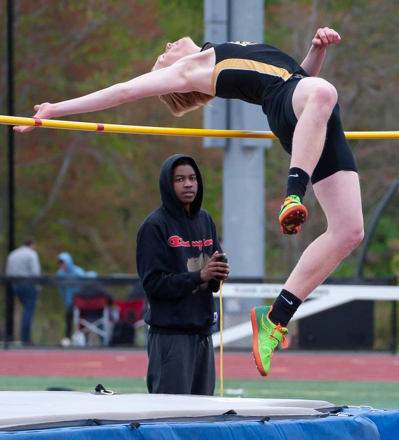 Russ Powell and the Hand boys' outdoor track team placed fourth at the SCC East Sectional Championship on May 14. Powell took first place in the high jump and finished second in the triple jump for the Tigers. Photo by Kelley Fryer/The Source