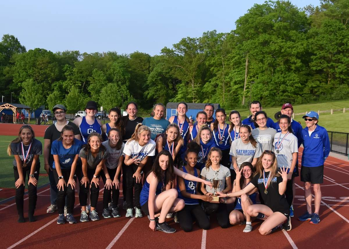 The Old Saybrook girls' outdoor track team claimed its fourth-consecutive conference title by taking first place at the Shoreline Conference Championship at Coginchaug High School on May 22. Photo by Kelley Fryer/Harbor News