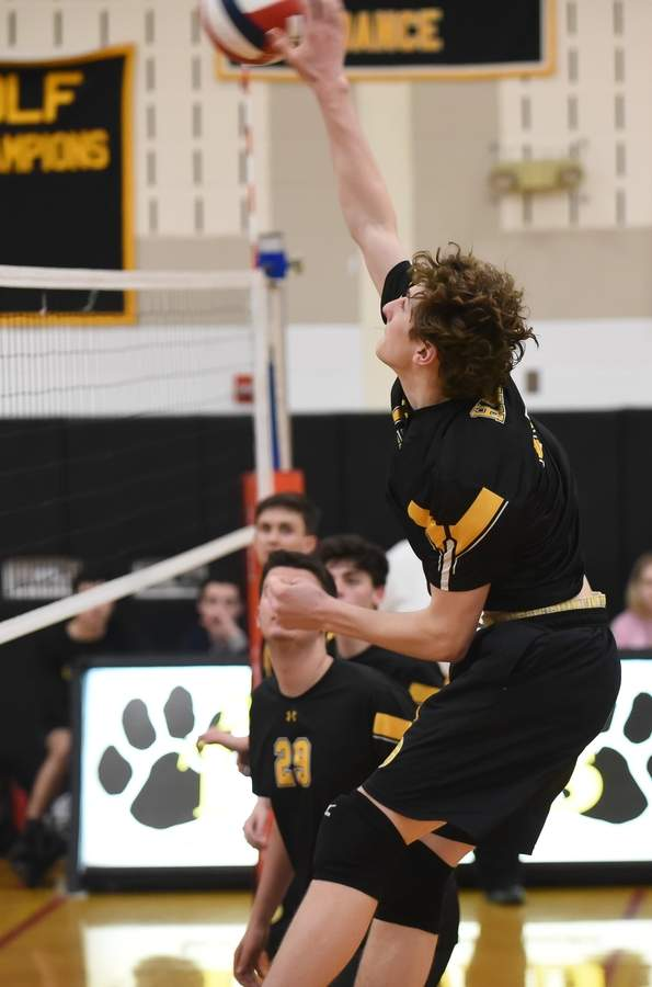 Senior Finn Sheehan and the Hand boys' volleyball team took a 3-1 loss against Cheshire in the SCC Tournament final on May 24. Photo by Kelley Fryer/The Source