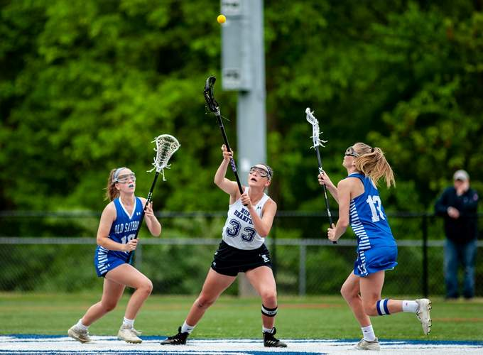 Senior captain Jessie Kilburn had three goals and three assists to help the T-Birds defend their Shoreline crown with a 9-6 victory versus Old Lyme in the conference final on May 28. Photo by Susan Lambert/The Sound