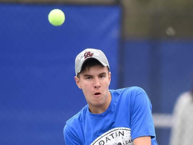 Senior Chris Nuzzo (pictured) and doubles teammate Garrett Johnson played their way into the title match of the doubles tournament at the Class S State Championship on behalf of the Morgan boys' tennis squad. File photo by Kelley Fryer/Harbor News