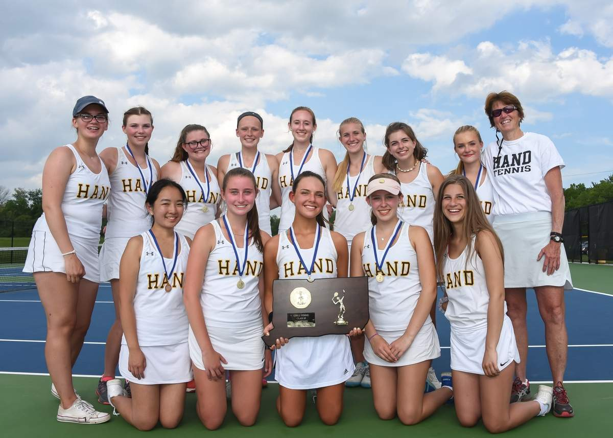 The Hand girls' tennis team finished its 2019 campaign with an unblemished record of 24-0 after defeating Lauralton Hall by a 6-1 score in the Class M State Tournament final at Amity High School. Photo by Kelley Fryer/The Source
