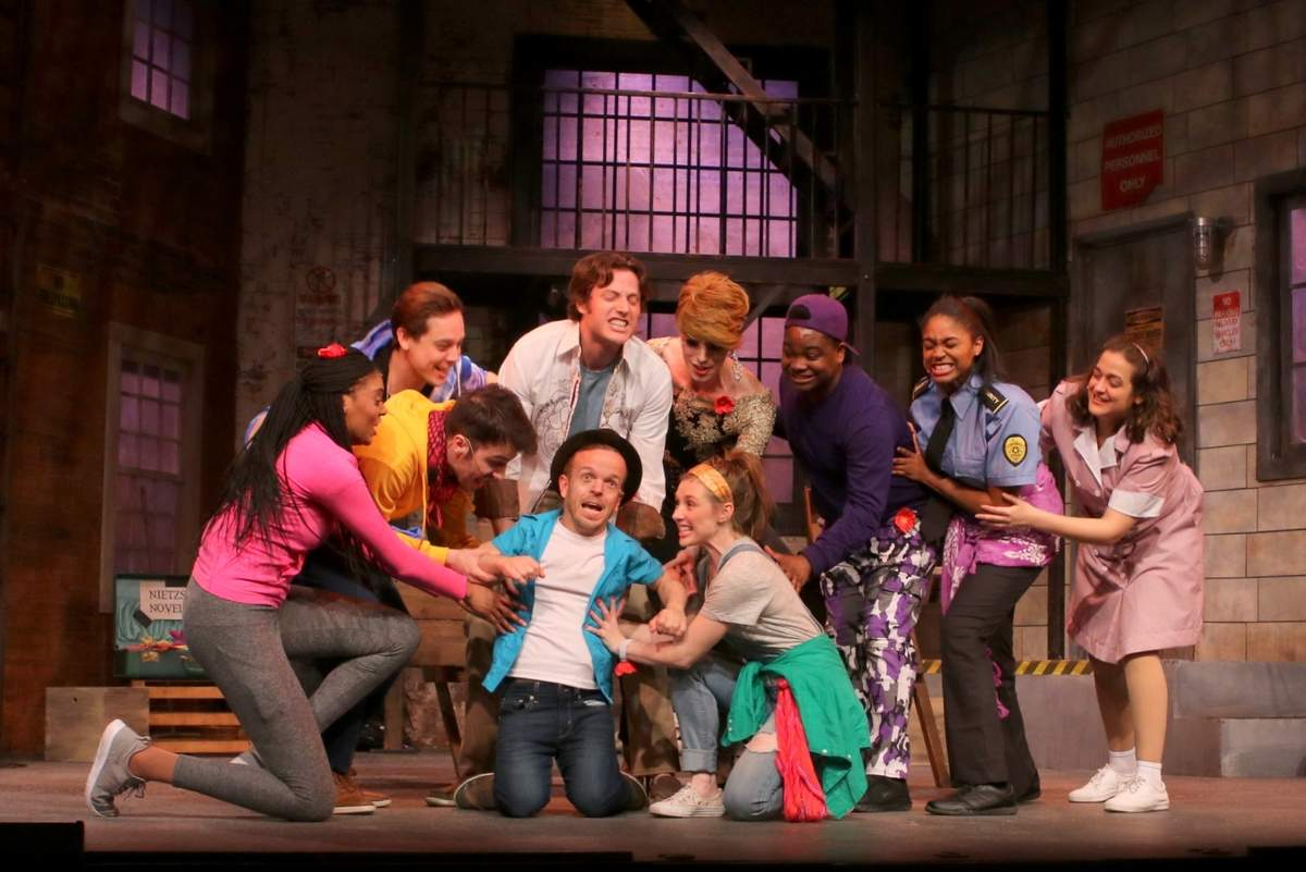 Cast members in Ivoryton Playhouse's Godspell include (front row) Josh Walker and Lilly Tobin and (second row) Jerican Exum, Morgan Morse, Carson Higgins, Sam Sherwood, Sam Given, Kedrick Faulk, Kaileah Hankerson, and Gabriella Saramago. Photo by Anne Hudson