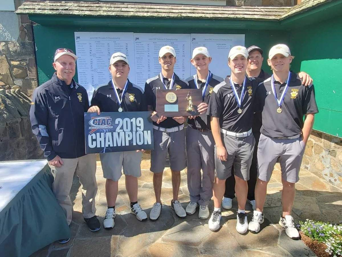 The Hand boys' golf team tallied a score of 308 to finish in first place at the Division II State Championship meet that was held at Stanley Golf Course in New Britain on June 3. Photo courtesy of Craig Semple